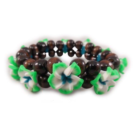 Charming Shark Women's Flower Bead Stretch Bracelet Elastic (Elastic Stretch Bracelet)