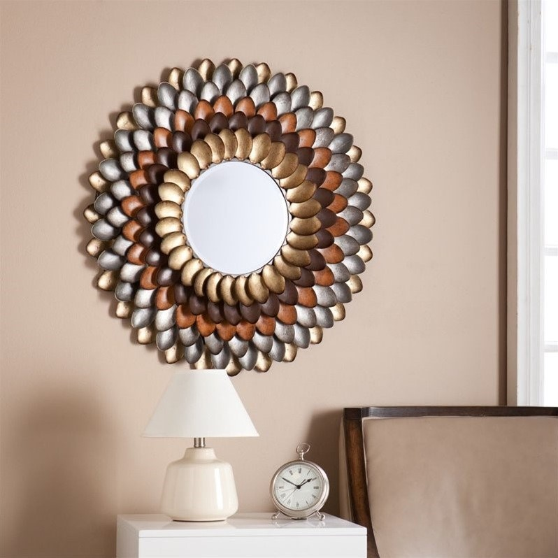 Southern Enterprises Albion Round Decorative Mirror in Multicolor