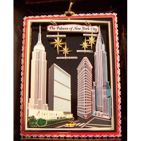 New York City Christmas Ornament Famous Buildings Flatiron Chrsyler Empire State United Nations - Halloween Light Show Empire State Building