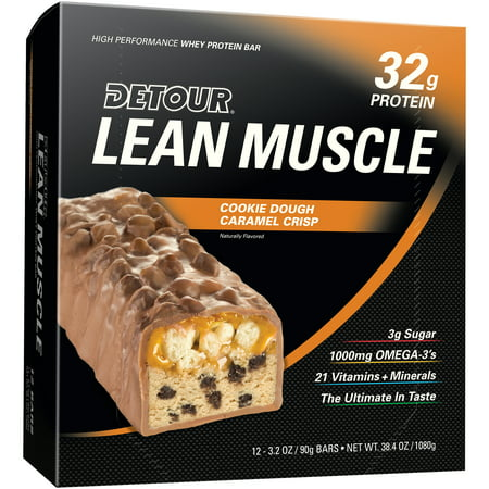 Detour Lean Muscle Protein Bar, Cookie Dough Caramel Crisp, 32g Protein, 12 (Best Protein For Women Muscle Gain)