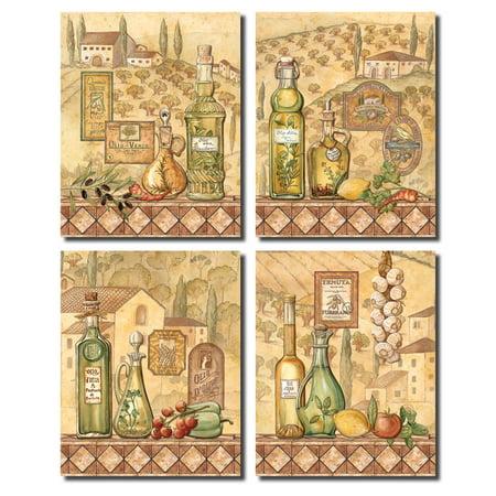 Flavors Of Tuscany I -Beautiful Classic French Vineyard; Kitchen Decor; Four 8X10 Poster Prints (Bella Tuscany Prints)