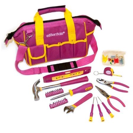 GreatNeck 21043 32 Piece Essentials Around the House Tool Set in Pink