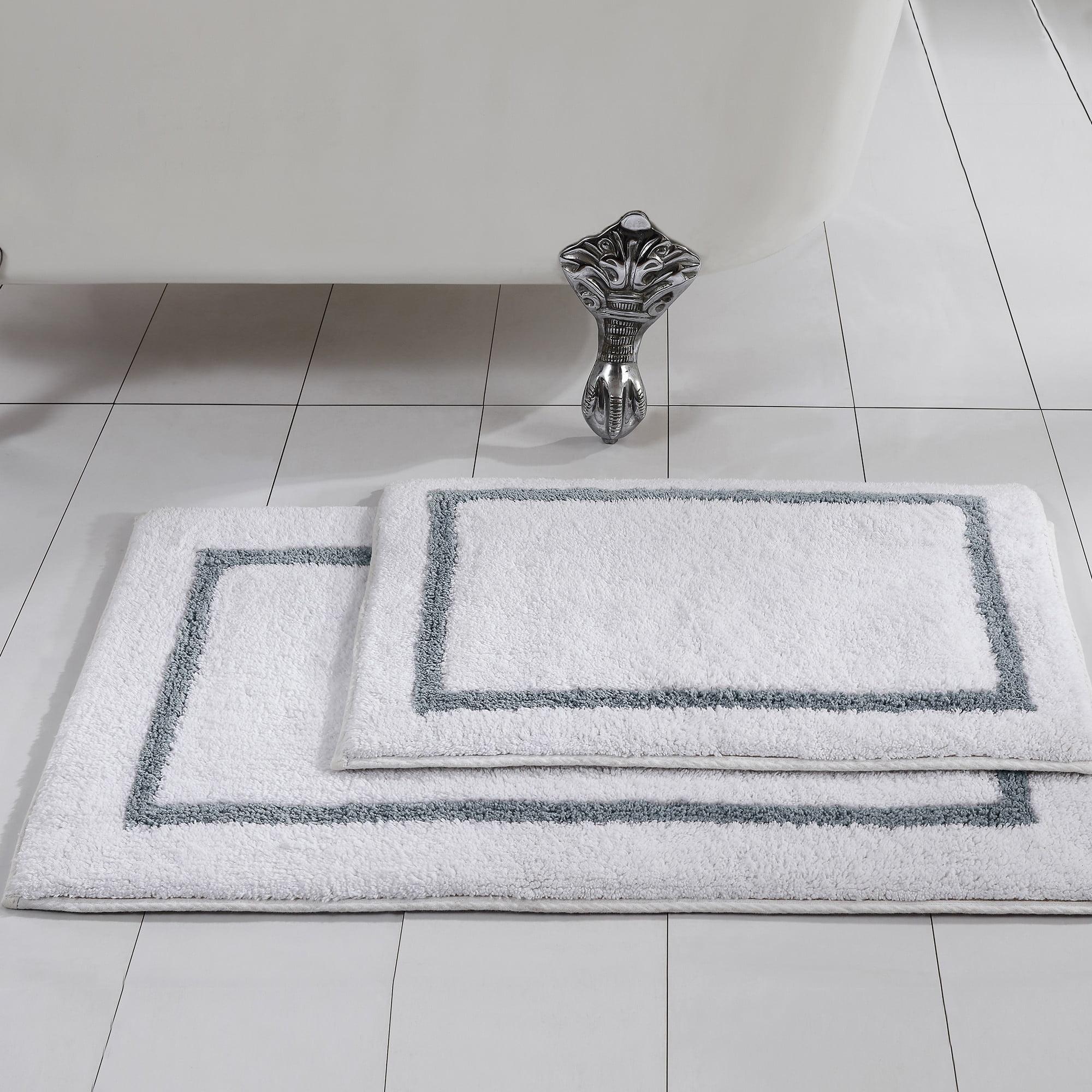 Pacific Coast Textiles Reversible 2 Piece 100% Cotton Bath Mat - Silver