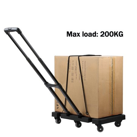 8cd4bb8177c8 Extendable Hand Trolley 6-Universal-Wheel Flat Luggage Cart with 3-fold  Handle