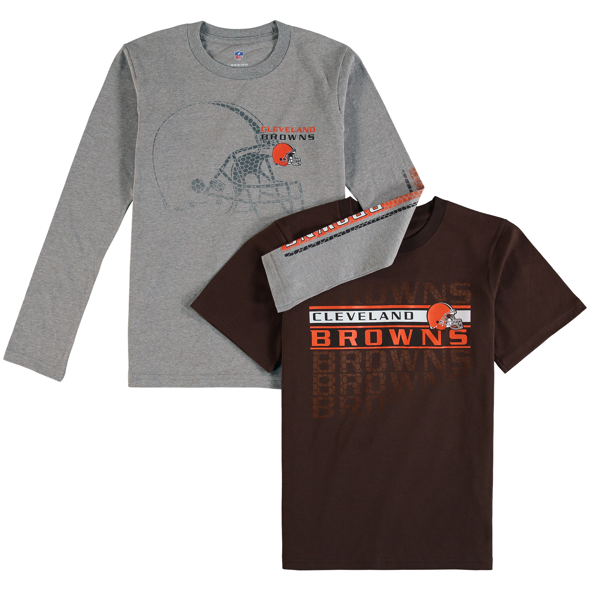Cleveland Browns Youth Interface T-Shirt Combo Pack - Brown/Gray - Yth L