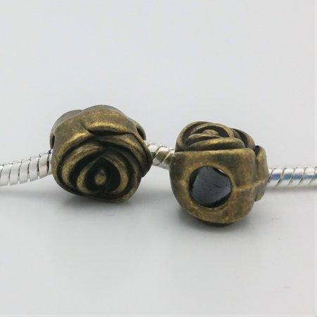 3 Beads - Rose Flower Bronze European Bead Charm E1497