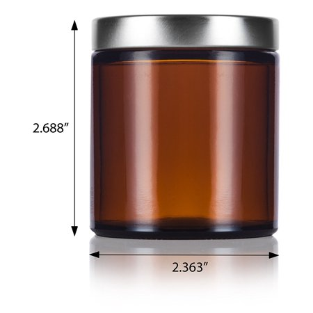 33b8cb3b8a5b Amber Thick Glass Straight Sided Jar with Silver Metal Airtight Lid - 4 oz  / 120 ml (6 pack) + Spatulas and Labels - Walmart.com