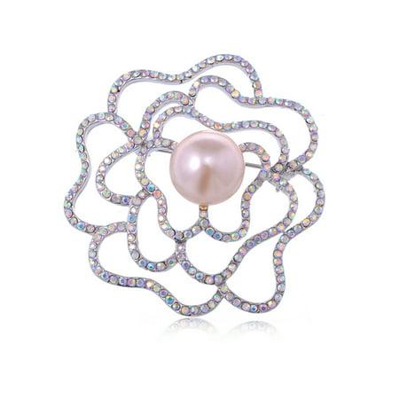 Silver Tone Aurora Borealis Rhinestone Flower Rose Stencil Faux Pearl Pin Brooch