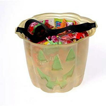 - US Toy Pumpkin Buckets 5in Trick or Treat Bucket, Orange Green, 12 Pack