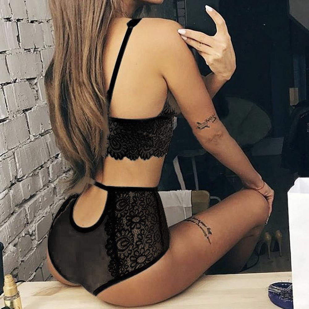 Women Lingerie Corset Lace Flowers Push Up Top Bra  Briefs Pants Underwear Sets