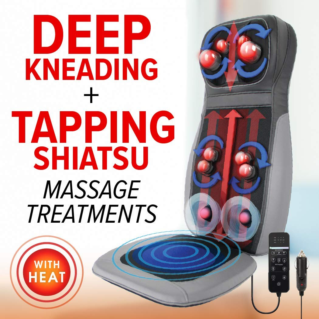 3D Shiatsu Kneading & Tapping Massage Seat Back Neck Massager for Chair Car with Vibration Memory Foam Cushion Daiwa Felicity Shogun
