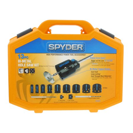 Saw Blade Arbor (Spyder 600887 13 Piece Bi Metal Steel Hole Cutter Saw Kit with Blades and)