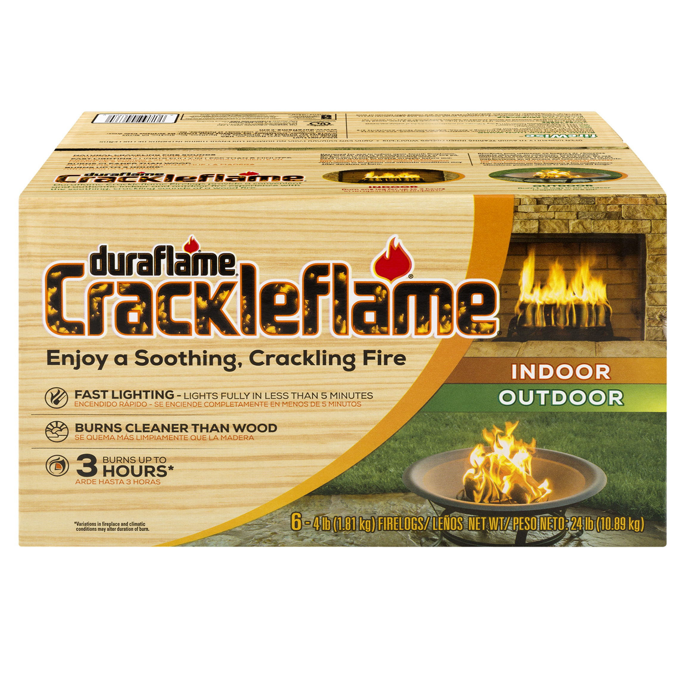 Duraflame Crackleflame 3-Hr Firelogs for Fireplaces and Fire Pits, 6PK