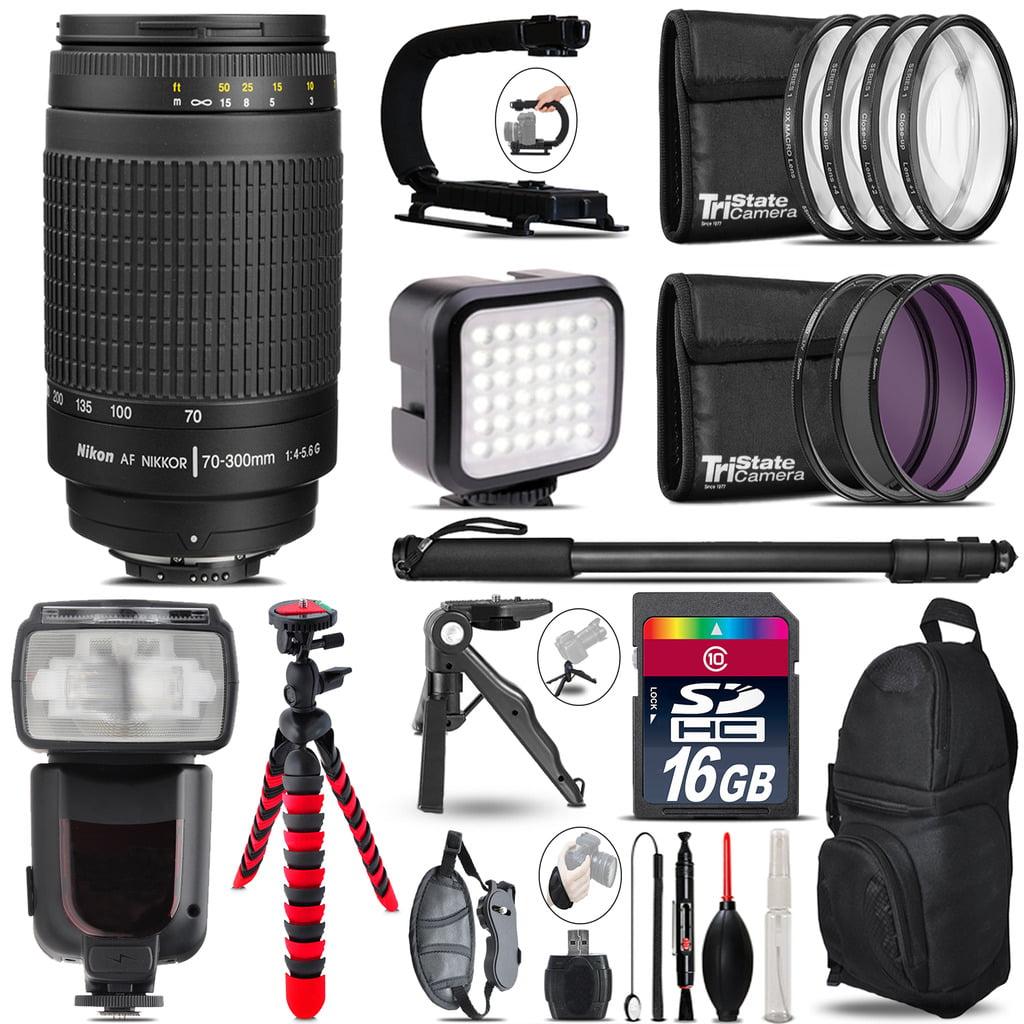 Nikon AF 70-300mm G - Video Kit + Pro Flash + Monopad - 16GB Accessory Bundle