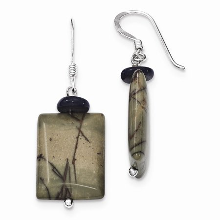 (Sterling Silver Black Mother of Pearl & Picasso Jasper Earrings)