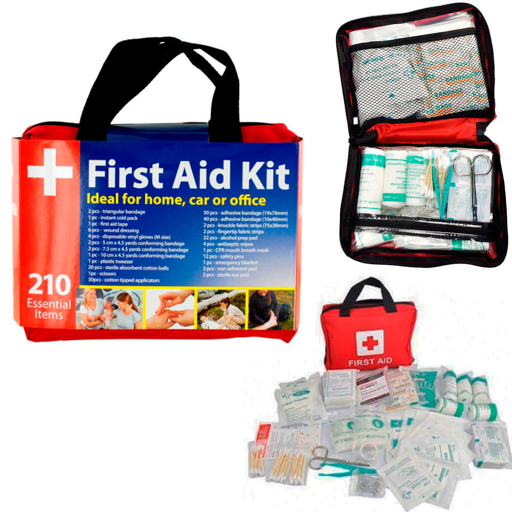 210 Pc First Aid Kit Bag Travel Camping Sport Medical Emergency Survival Outdoor by KOLE IMPORTS