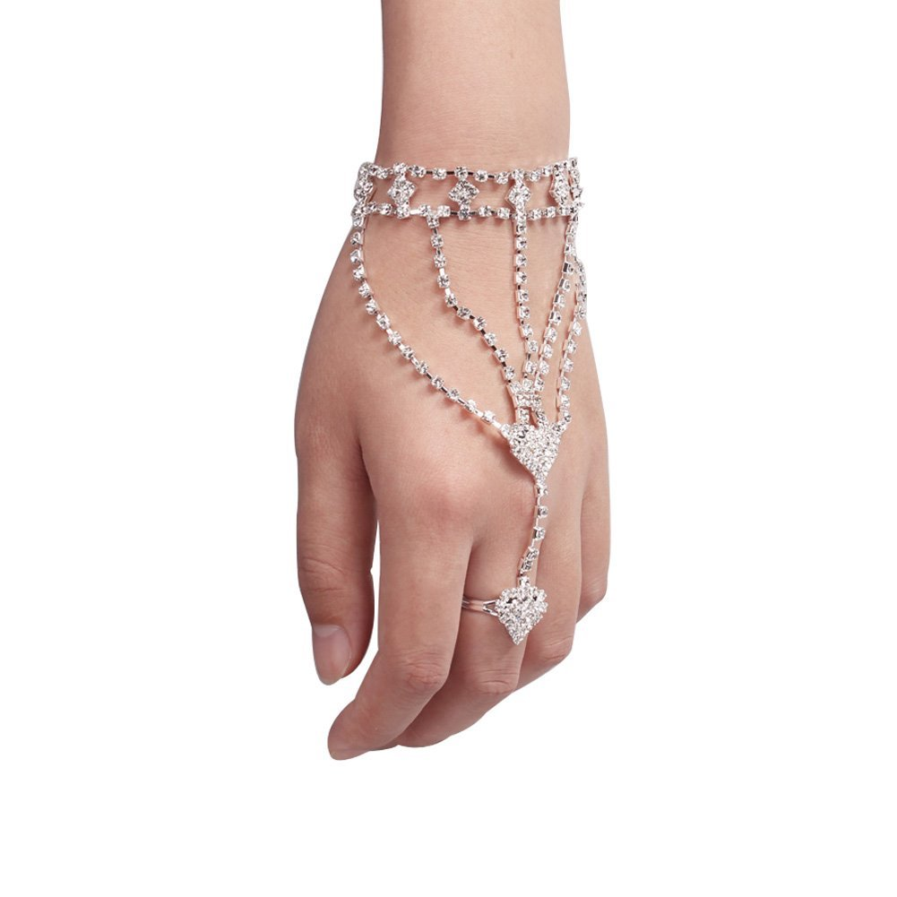 Stillcool Rhinestone Crystal Hand Chain Bracelet With Ring Attached Bangle Jewelry Slave Link Finger