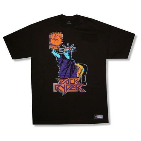 WWE Wrestling Zack Ryder Statue Black T Shirt (Ryder Tee)