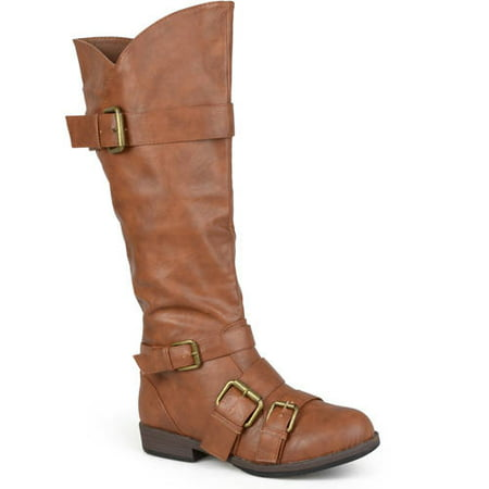 Image of Brinley Co. Women's Round Toe Buckle Detail Boots