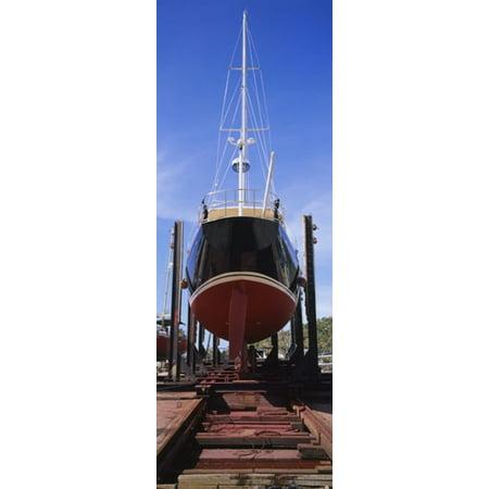 Low angle view of a sailing ship at a shipyard Antigua Poster Print