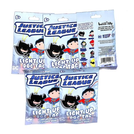 JUSTICE LEAGUE LIGHT UP DOG TAGS LOT OF 5 PACKS JUSTICE LEAGUE LIGHT UP DOG TAGS COLLECT ALL 8