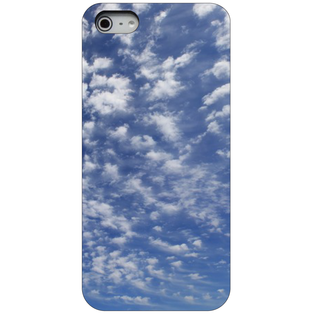 CUSTOM Black Hard Plastic Snap-On Case for Apple iPhone 5 / 5S / SE - Cirrus Clouds Blue Sky