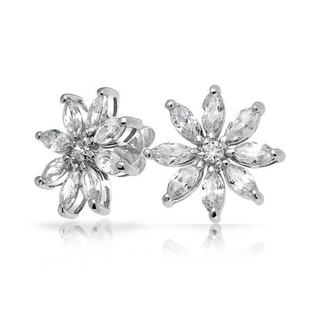 Cubic Zirconia Marquise Stud - Bridal Holiday Marquise Cubic Zirconia CZ Flower Shape Stud Earrings For Women 925 Sterling Silver 14MM