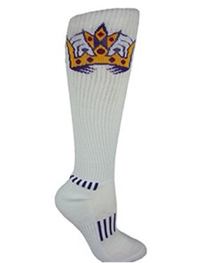d5afd11d297 Product Image MOXY Socks Knee-High White with Purple KING CROWN Fitness  Deadlift Socks