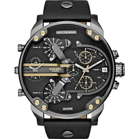 Diesel Men's Mr. Daddy DZ7348 Black Leather Japanese Quartz Fashion Watch Diesel Mens Leather Watch