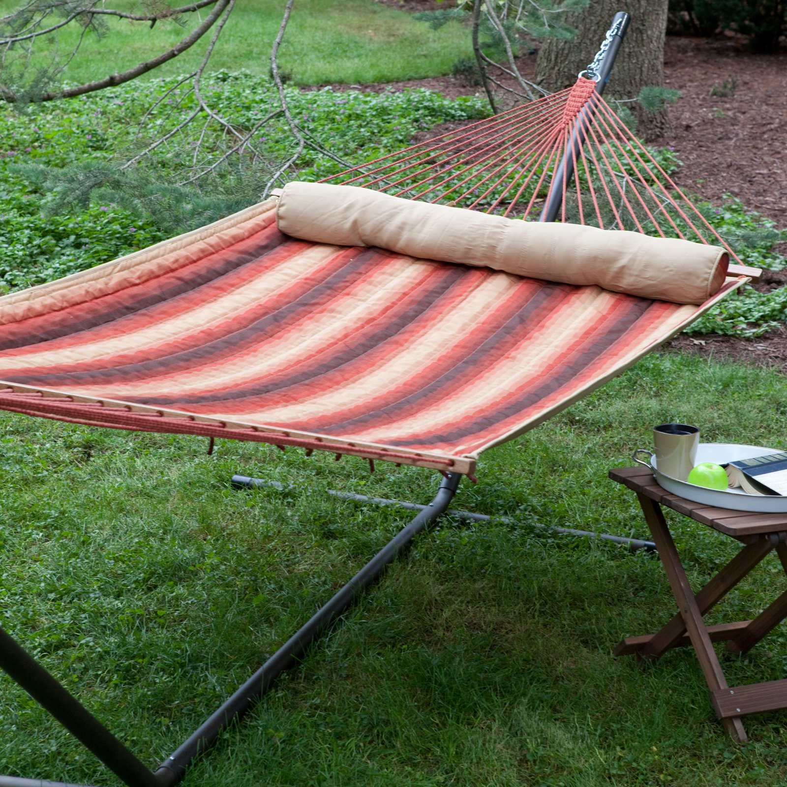 Coral Coast Dura-Weave Quilted Double Hammock with Steel Stand