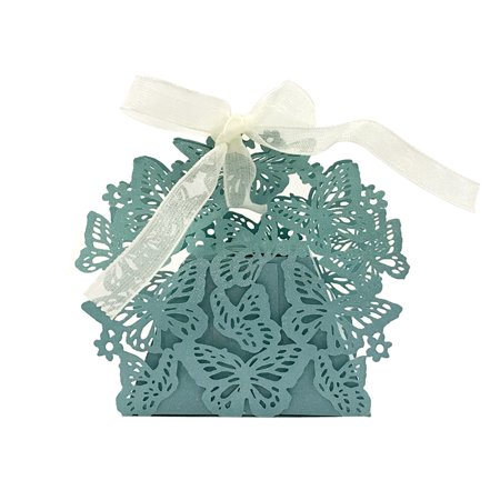Wrapables® Butterflies Wedding Party Favor Boxes Gift Boxes with Ribbon (Set of 50), Blue
