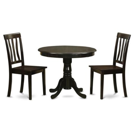 Cappuccino Round Table Plus 2 Kitchen Chairs 3-piece Dining Set Wood seat
