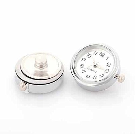 White Snap Watch Charm Cross Chunk Snap Jewelry Button Round Silver Tone Fit Chunk Bracelets (Jewelry Snaps)