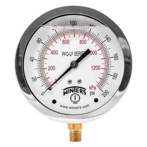 WINTERS PEM215LF Gauge, Pressure, 0 to 160 psi, 2-1/2 in.
