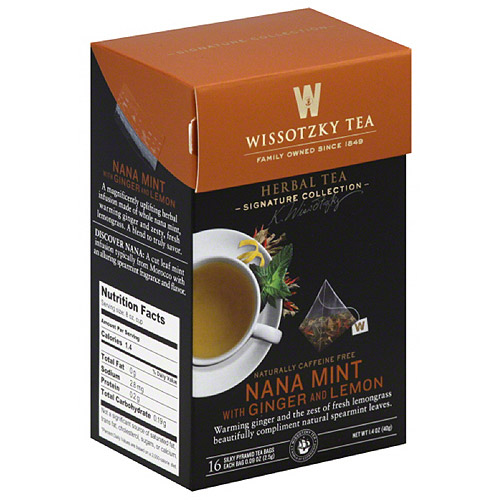Wissotzky Tea Nana Mint with Ginger and Lemon Herbal Tea Bags, 16 count, 1.4 oz, (Pack of 6)