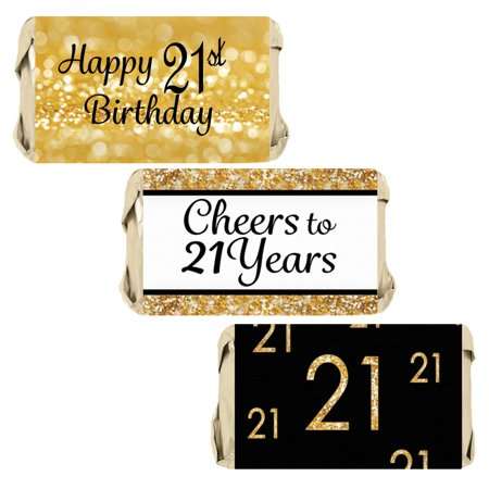 21st Birthday Candy Wrapper Stickers 54ct | Black and Gold Party Favor Decoration - 21st Halloween Birthday Party