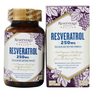 Reserveage Nutrition Resveratrol with Active transresveratrol 250 mg 60 Veg Caps
