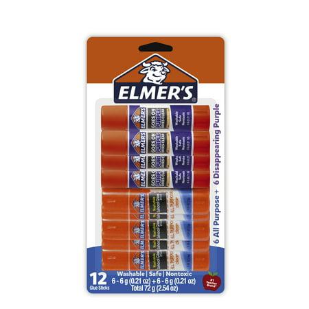 Elmer's School Glue Sticks   Elmer's All Purpose Glue Sticks & Disappearing Purple Glue Sticks, 6g, 12 Count