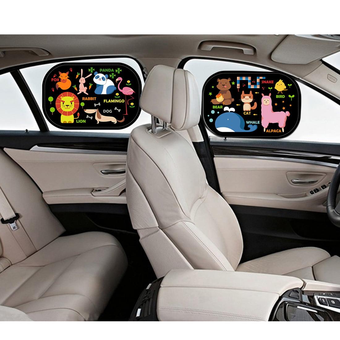Cartoon  Car Side Window Sun Shade Visor Protector Static Film (2 Packs) Animal World Design Block Harmful UV Rays