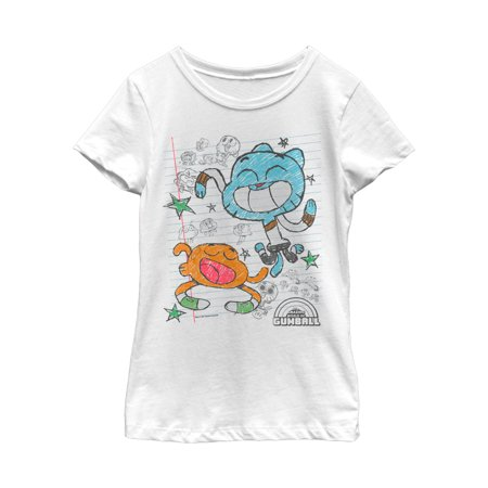 The Amazing World of Gumball Girls' Notepad Doodle Print T-Shirt](Gumball Dress)