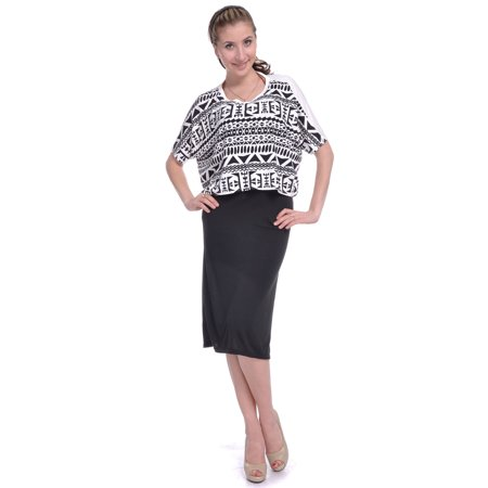 Ethnic Inspired Clothing (Ethnic Tribal Inspired Print Dolman Crop Top with Slim Black Dress)