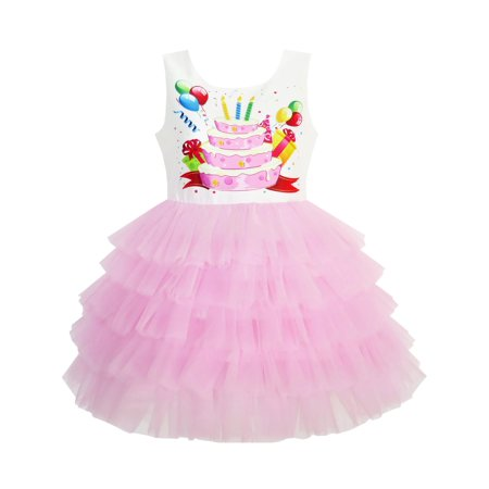 Girls Dress Birthday Princess Ruffle Dress Cake Balloon Print 3 Patty Cake Dress