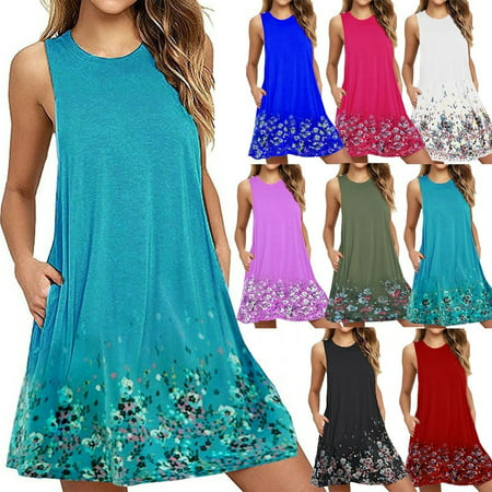 Women Casual Round Neck Floral Printed Loose Sleeveless Beach Tank A-line Pocket Dresses Knee Length Pleated Skirts Ladies Fashion Swing Cotton T-Shirt Dress ()
