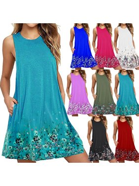 1028bd94361 Product Image Women Casual Round Neck Floral Printed Loose Sleeveless Beach  Tank A-line Pocket Dresses Knee