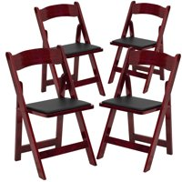 Flash Furniture 4pk HERCULES Series Mahogany Wood Folding Chair with Vinyl Padded Seat