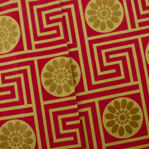 Designer Cotton Key Red/Beige King Maze Print Red Home Decorating Fabric, Fabric By the Yard