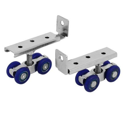 2 Pcs Plastic 4-wheel Wardrobe Closet Pulley Hardware Sliding Door Rollers
