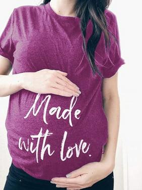 Plus Size Women Letter Print Loose Maternity T-shirt