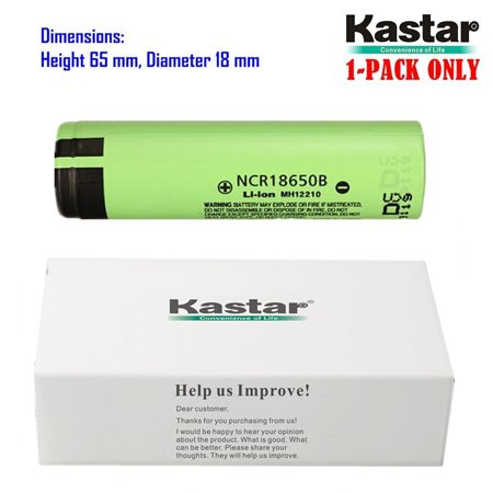 Kastar 18650 (1-Pack) NCR18650B Lithium-ion Battery, Genuine Quality Rechargeable 3.7V 3400mAh Flat Top