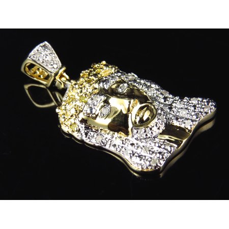 10K Yellow Gold Canary Diamond Jesus Piece Pendant (0.25ct)